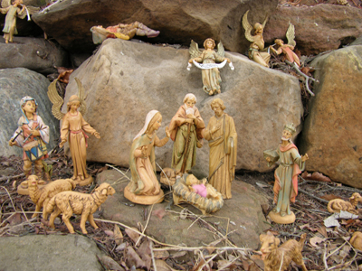 Nativity Scene on Rocky Hillside